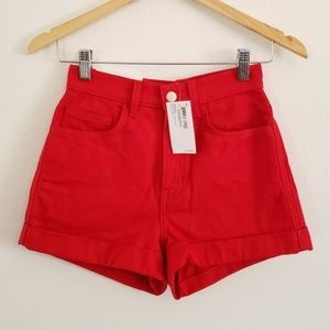 NWT American Apparel Red Jean Shorts